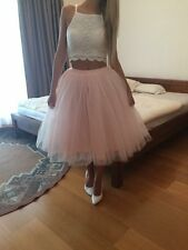 Pink 7 Layers Long Tulle Skirt High Waisted Midi Skirts Pleated Women Adult tutu