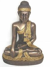 STATUE OF SITTING BUDDHA W/ BRONZE FINISH GARDEN ART FENG SHUI
