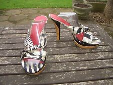 "GUESS By Marciano slip on zebra print textile 4"" heel shoes, sandals, size 5"