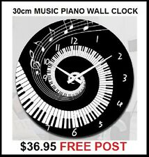 PIANO MUSIC CLOCK 30cm UNIQUE DESIGN WALL MOUNT OR FREESTANDING NEW GREAT GIFT