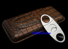 New Brown COHIBA Leather Travel Case Holder 3 Tube Cigar Case Humidor + Cutter