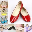 New Ladies Patent Pumps Womens Ballerina Dolly Ballet Slip On Flat Shoes Slipper