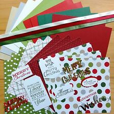 """STAMPIN' UP! """"MERRY MOMENTS"""" & MIXED CHRISTMAS CARD PAPER PACK 24 SHTS 6x6 - NEW"""