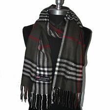 New Fashion 100% Cashmere Scarf Check Plaid Wool Wrap Soft Dark Gray Men's #08