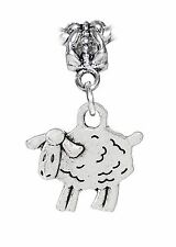 Sheep Lamb Farm Animal Petting Zoo Dangle Charm fits Silver European Bracelets