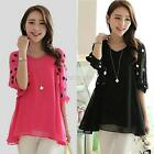 Women's Korean Trendy Polka Dot Chiffon Blouse 3/4Sleeve V-Neck Tops Shirt G23