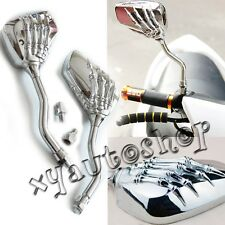 Chrome Motorcycle Chopper Cruiser Side Mirrors For Honda Yamaha Suzuki Kawasaki