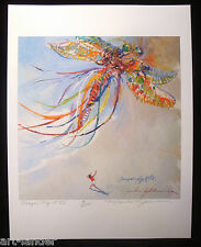 Whimsical Colorful Dragonfly Kite Flying Beach Aerial Print MARSHALL JOHNSON 8.5