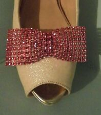 2 Red Diamante Style Bow Clips for Shoes