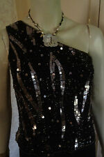DEFINITIONS SEQUIN ONE SHOULDER SPECIAL OCCAS BLACK/GOLD  DRESS SZE 8 CLEARANCE