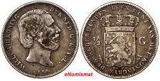 Netherlands William III Silver 1868 1/2 Gulden KM# 92