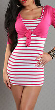 SeXy Miss Damen 2 Teiler Bolero Stripes Mini Kleid Long Top 34/36/38 pink weiß