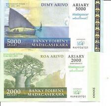 MADAGASCAR LOT 2000-5000 ARIARY 2008  P 93-94 COMMEMORATIVE. UNC. 4RW 26OCT