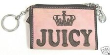 JUICY COUTURE Pink & Brown Zippered Coin Keychain Wallet