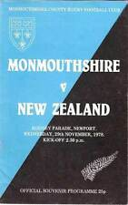 NEW ZEALAND ALL BLACKS TOUR 1978 v MONMOUTHSHIRE RUGBY PROGRAMME