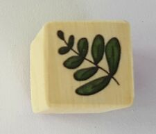 Wood Backed Rubber Stamp Leaf Stem Leaves