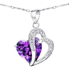 5.66 Ct Amethyst Heart Cut Gemstone Pendant Necklace 925 Sterling Silver 18""