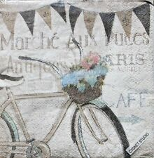 Set of 30 Cocktail Beverage 2-ply Napkins - Paris Antique Market Bicycle