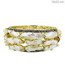 2 Pcs Lot 14k Gold 86ct RAW PEARLS BangleSilver Pave Diamond Inspired Jewelry