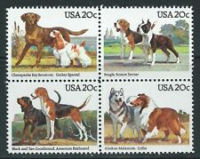 USA - MNH Block of 4  Stamps - 20c American Dogs       1984