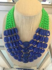 NWOT Multi Strand Blue And Green Beaded Bib Statement Necklace Anthropologie