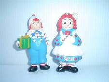 Vintage 1992SET OF RAGGEDY ANN & ANDY PLASTIC CHRISTMAS ORNANAMENTS