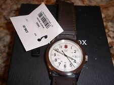 Victorinox Swiss Army Men's 24654 Infantry  white face Watch  NWT leather strap