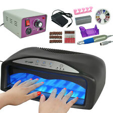 54W UV Nail Dryer Machine Gel Light Lamp + Electric Drill File Manicure Tool Kit