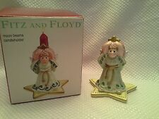 "Nice! FITZ & FLOYD 2003 CHRISTMAS CERAMIC CANDLE HOLDER ANGEL ""MOONBEAMS"""
