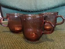 Vintage ForteCrisa  Pink  Set of (3) Glass Handled Cups, Mexico