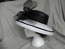Beautiful Black and White Derby Dress Church Hat with Rhinestone Adorned Bow