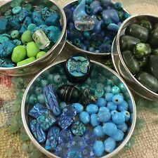 Blue & Green Mixed Bead Lot 500+ Art Glass Plastic Shimmer Faux Stone Chips