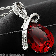 Teardrop Necklace Red Crystal Love Girlfriend Wife Mum Women Xmas Gift For Her