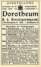 DOROTHEUM WIEN K.k. Versteigerungsamt Historische Reklame von 1909