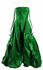 OSCAR DE LA RENTA $5,290 R14 Runway Kelly Green Silk Ball Gown 6