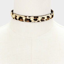 "14"" leopard animal print faux choker collar Necklace .50"" wide"