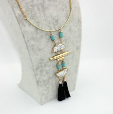 14K Gold Plated Natural Stone Turquoise Black Tassels Drop Pendant Necklace 1106