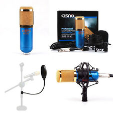 Blue Condenser Microphone+Pop Filter Mask Shield for Studio Recording Singing