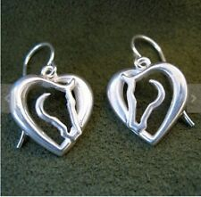 Horse Love Earrings with Horse Head and Heart