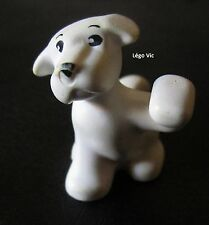 Lego 6250 Belville Dog Chien with Raised Paw and Face Pattern Blanc White