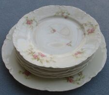 6 Haviland H3211 Dinner & Salad Plates Ranson with Ornate Pink Spray of Roses