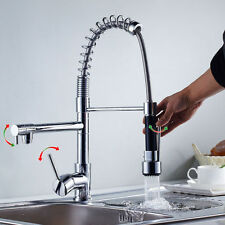 Chrome Double Pull Down Spray Kitchen Sink Faucet Swivel Spout Brass Mixer  Taps