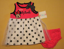 "NWT Disney Infant Girls Minnie Mouse ""Miss Minnie"" Dress 6-9 Mos"