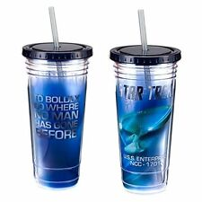 Star Trek Classic TV Enterprise and Monologue 24 oz Acrylic Travel Cup w/ Straw