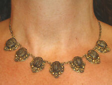 ART NOUVEAU EGYPTIAN REVIVAL REAL BROWN IRIDESCENT 7 SCARAB BEETLE  Necklace!