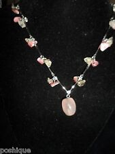 Statement Necklace Choker Stone Rocks Beaded Beachy Chic Silver Tone Pink