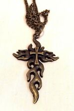Gothic Flame Cross Charm Pendant Men's Chain Necklace 17""