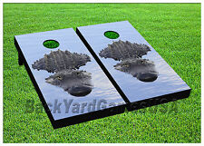 CORNHOLE BEANBAG TOSS GAME w Bags Game Boards Gator Swamp Green WaterSet 1141