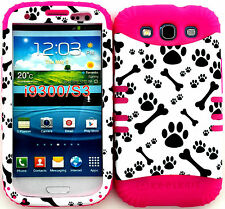 Hybrid Cover Case Samsung Galaxy S3 L710 I535 I747 T999 Dog Bones Paws on Pink