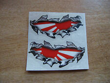 "Torn / Ripped Paintwork japanese ""Rising Sun"" flag stickers - 100mm decal pair"